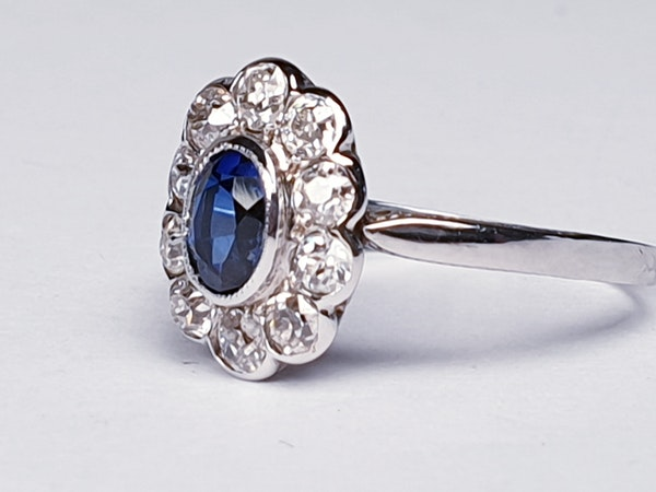 Sapphire and Diamond Cluster Engagement Ring  DBGEMS - image 5