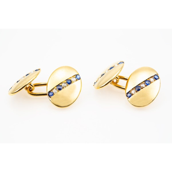 Antique Cufflinks in 18 Carat Gold with a line of Sapphires & Diamonds, English circa 1890. - image 4
