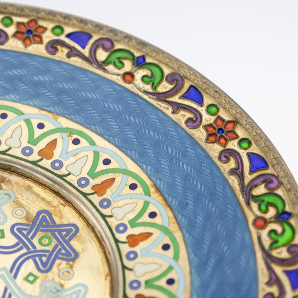 Russian Silver Gilt and Enamel Sherbet Cup, Underplate & Spoon, Khlebnikov, Moscow c.1900 - image 16