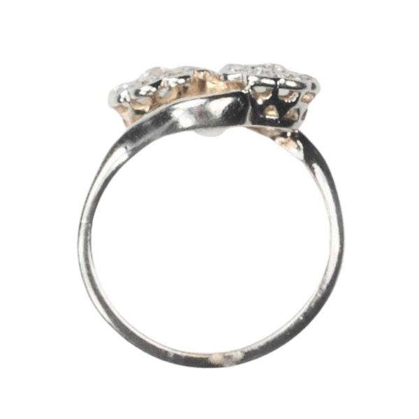 An antique double Daisy Diamond Ring - image 4