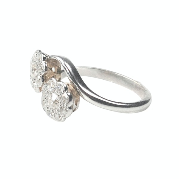 An antique double Daisy Diamond Ring - image 5