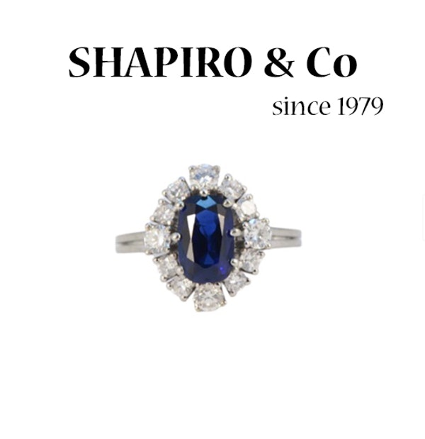 1960's, Sapphire and Diamond stone set Ring, SHAPIRO & Co since1979 - image 6