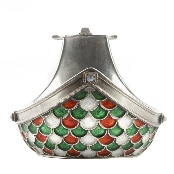 Russian Faberge Silver Enamelled Kovsh, c1900 - image 2