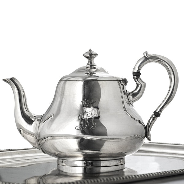 Russian Silver Four Piece Tea Set and Platter, St. Petersburg 1872-1884 by Sazikov - image 2