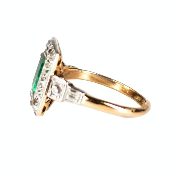 An Art Deco Emerald and Diamond Ring - image 2