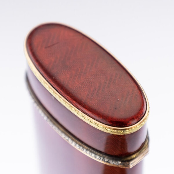 Faberge Gold and Silver Guilloche Enamel Cigarette Case, by Workmaster Henrik Winstrom c.1900 - image 7