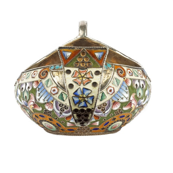 Russian Silver Enamelled Kovsh, Moscow c.1880 - image 4