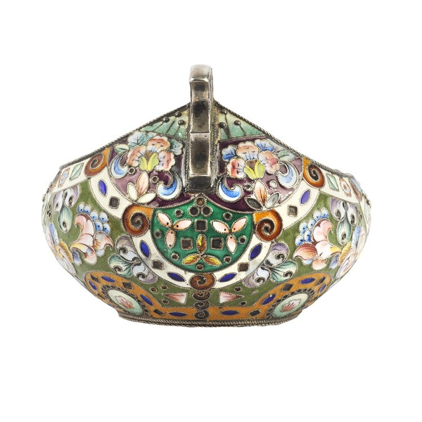 Russian Silver Enamelled Kovsh, Moscow c.1880 - image 2