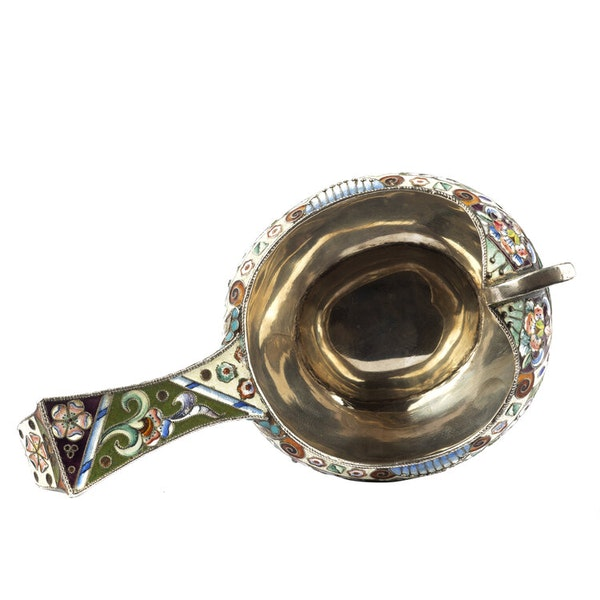 Russian Silver Enamelled Kovsh, Moscow c.1880 - image 3
