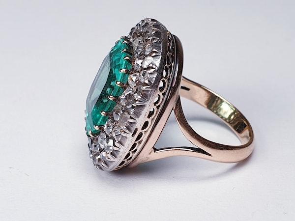 Antique 4.5ct Columbian Emerald and Diamond Ring  DBGEMS - image 2