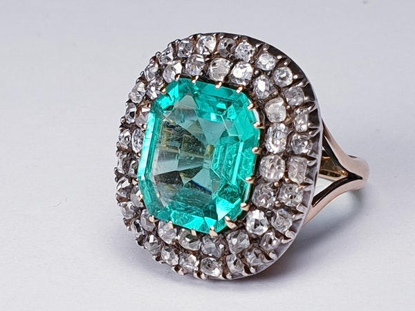 Antique 4.5ct Columbian Emerald and Diamond Ring  DBGEMS - image 3