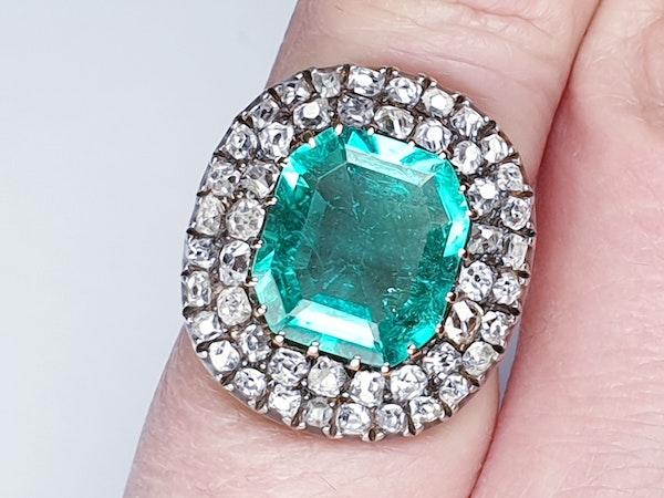 Antique 4.5ct Columbian Emerald and Diamond Ring  DBGEMS - image 4