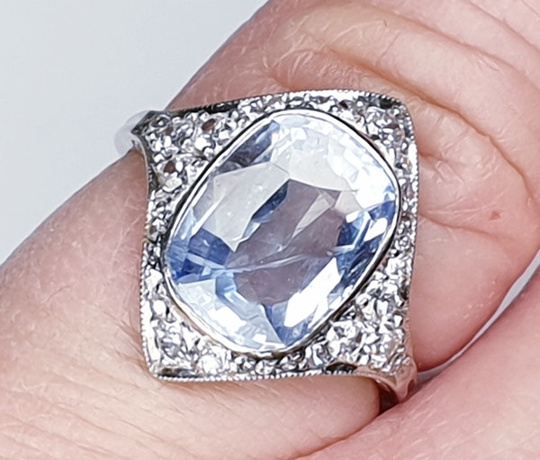 Art Deco Ceylon Sapphire and Diamond Wave Ring  DBGEMS - image 4