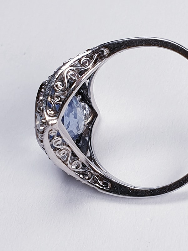 Art Deco Ceylon Sapphire and Diamond Wave Ring  DBGEMS - image 5