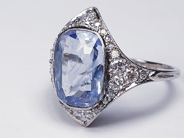Art Deco Ceylon Sapphire and Diamond Wave Ring  DBGEMS - image 3