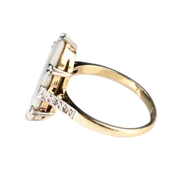An Art Deco Harlequin Opal Ring - image 5