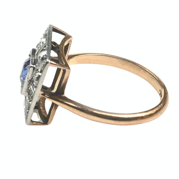 An Art Deco Sapphire and Diamond Ring - image 3