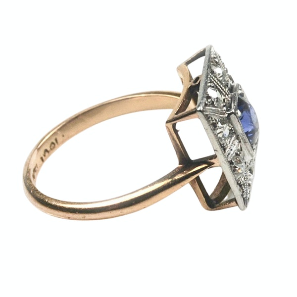 An Art Deco Sapphire and Diamond Ring - image 4