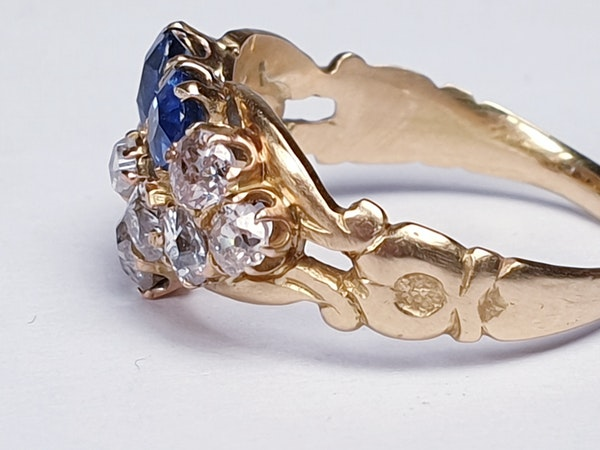 Antique sapphire and diamond pansy ring  DBGEMS - image 3