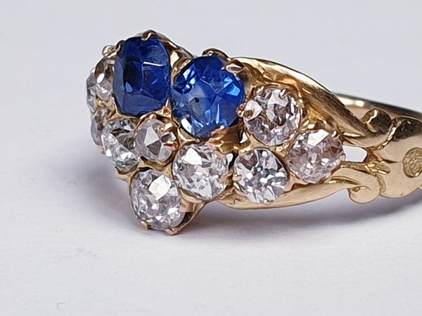 Antique sapphire and diamond pansy ring  DBGEMS - image 6