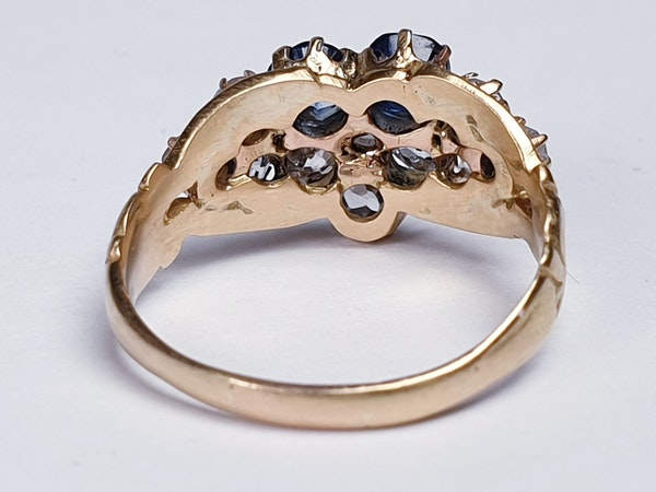 Antique sapphire and diamond pansy ring  DBGEMS - image 5