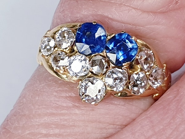 Antique sapphire and diamond pansy ring  DBGEMS - image 2