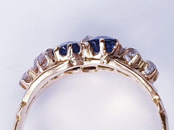 Antique sapphire and diamond pansy ring  DBGEMS - image 4