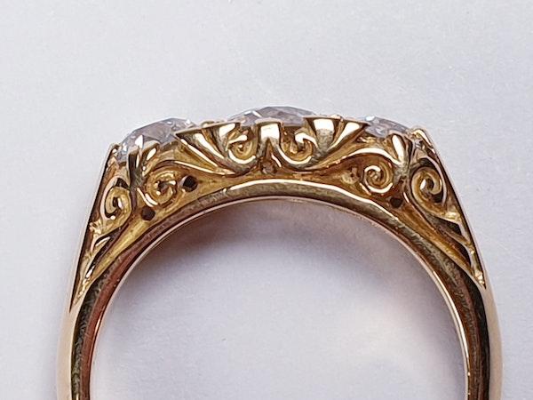 Three Stone Diamond Carved Half Hoop Ring  DBGEMS - image 5