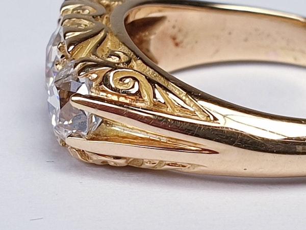 Three Stone Diamond Carved Half Hoop Ring  DBGEMS - image 2