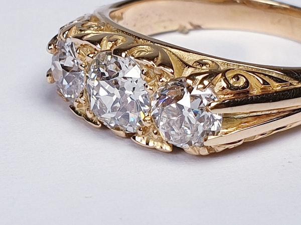 Three Stone Diamond Carved Half Hoop Ring  DBGEMS - image 3
