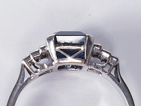 Fabulous sapphire and baguette diamond engagement ring  DBGEMS - image 2