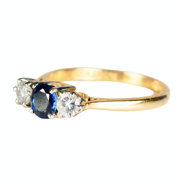 A three stone Sapphire and Diamond Ring - image 4