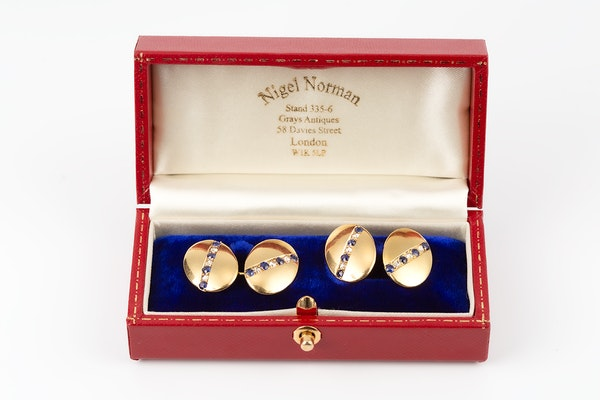 Antique Cufflinks in 18 Carat Gold with a line of Sapphires & Diamonds, English circa 1890. - image 6