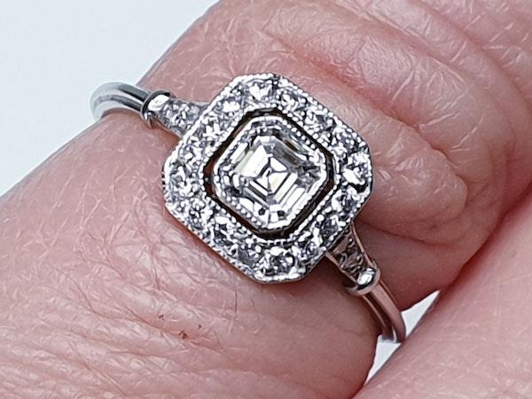 Asscher cut diamond engagement ring  DBGEMS - image 4