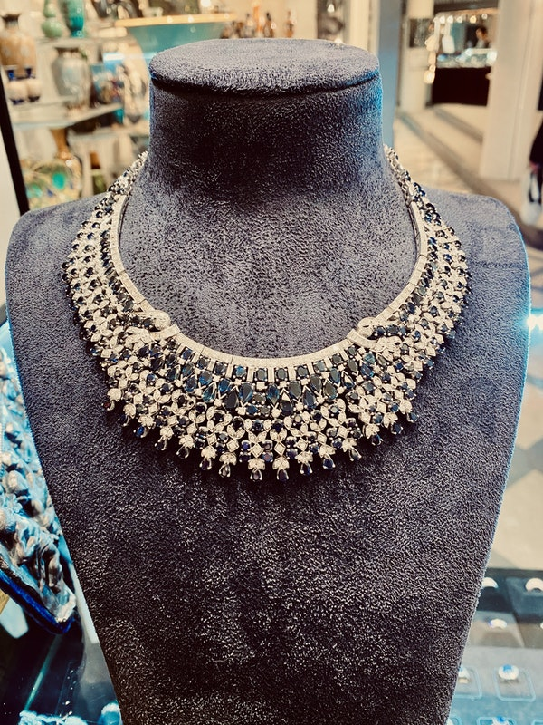 Vintage, white gold 50.00ct Natural Blue Sapphire and 7.00ct Diamond Necklace - image 5