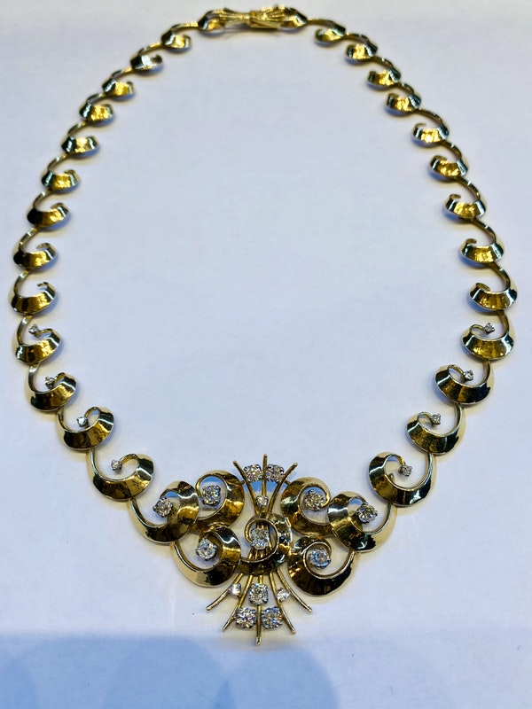 Vintage,14K yellow gold Diamond Necklace - image 3