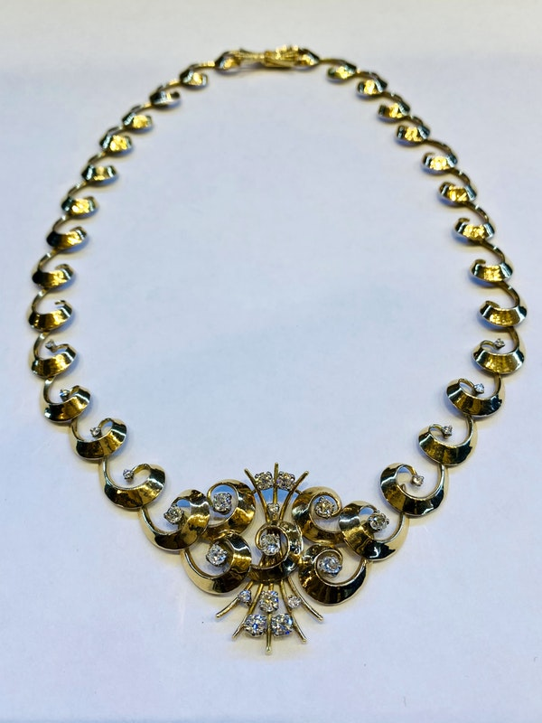 Vintage,14K yellow gold Diamond Necklace - image 4
