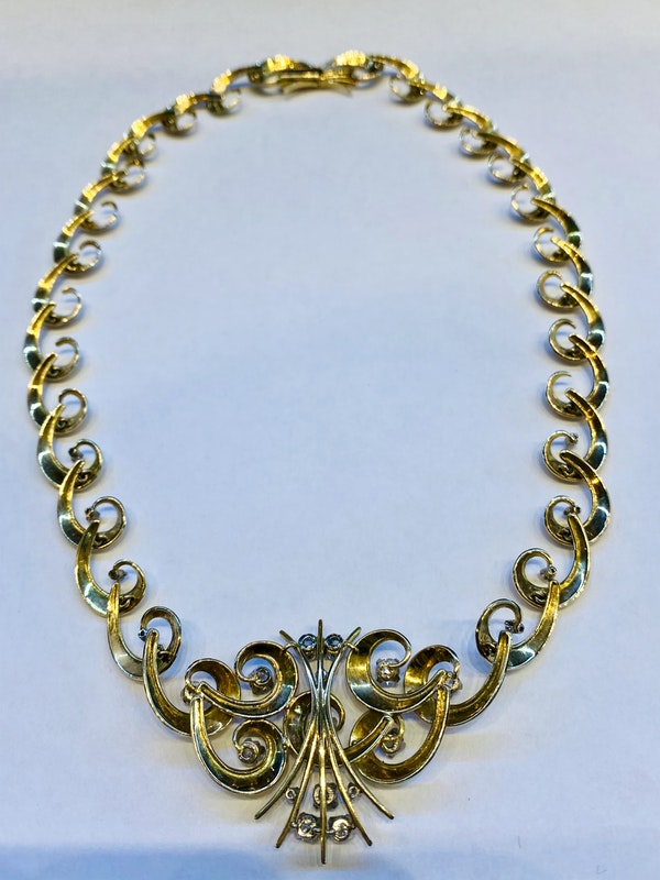 Vintage,14K yellow gold Diamond Necklace - image 5
