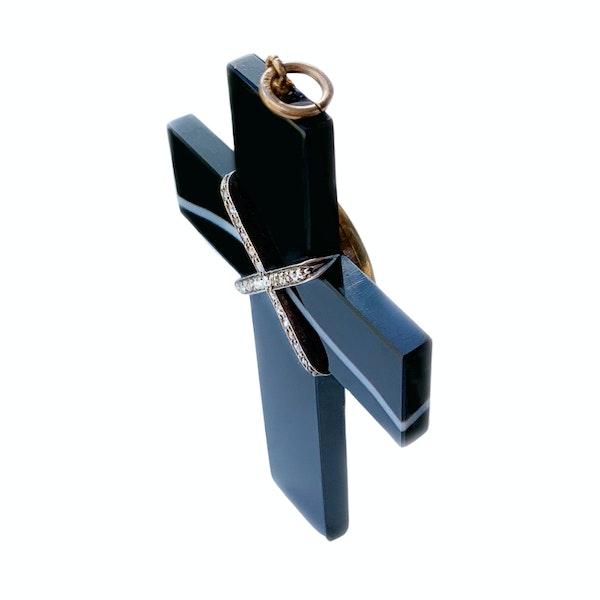 An 1880 Agate and Diamond Locket Cross - image 2
