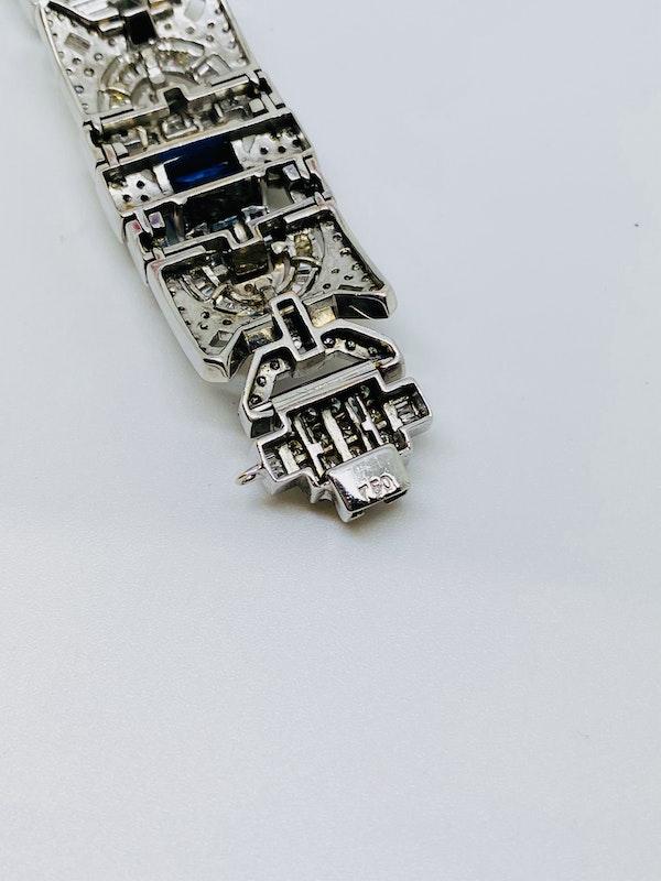18K white gold 6.00ct Natural Blue Sapphire and 11.00ct Diamond Bracelet - image 6