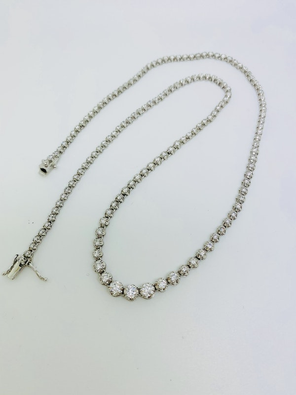 18K white gold 4.50ct Riviera Diamond Necklace - image 5