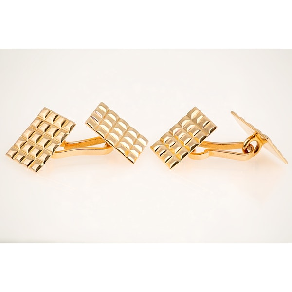 Vintage Cufflinks in 18 Karat Gold with Hobnail Design to Face, French circa 1950 - image 2