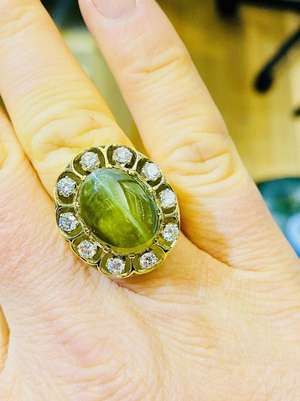 17.88ct Natural Chrysoberyl and Diamond Ring - image 2
