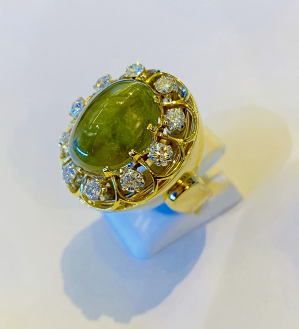 17.88ct Natural Chrysoberyl and Diamond Ring - image 4