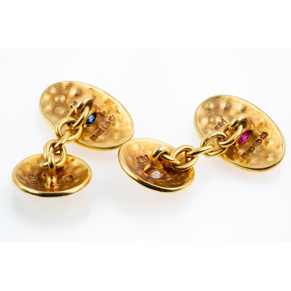 Antique Cufflinks in 18 Carat Gold with Stippled Design, Diamonds, Sapphire and Ruby, English dated 1891. - image 3