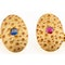 Antique Cufflinks in 18 Carat Gold with Stippled Design, Diamonds, Sapphire and Ruby, English dated 1891. - image 2