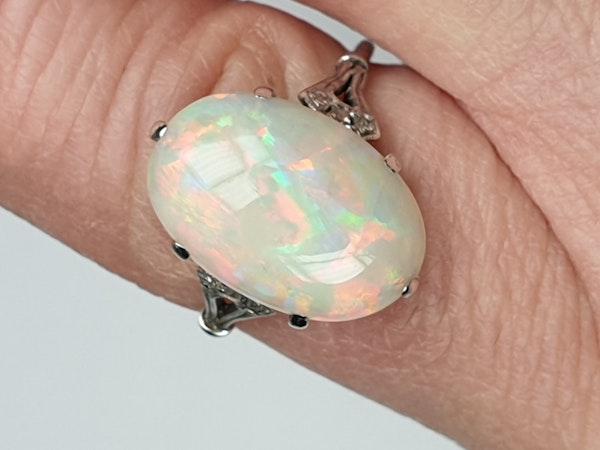 Edwardian opal and diamond dress ring  DBGEMS - image 3