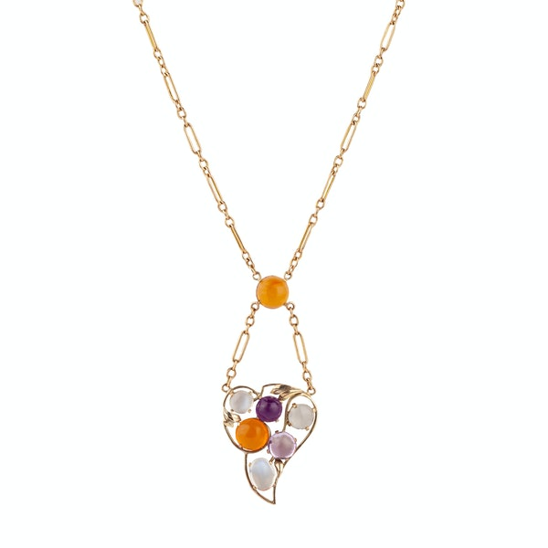 A Fire Opal, Amethyst and Moonstone Gold pendant - image 2