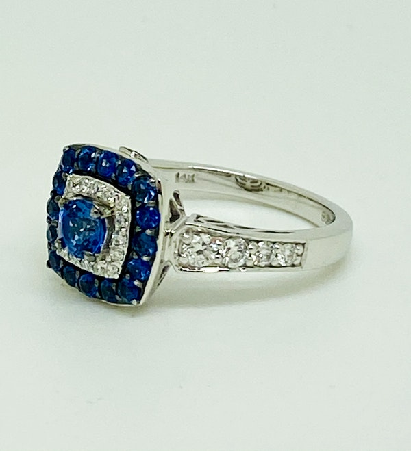14K white gold 0.50ct Natural Blue Sapphire and 0.75ct Diamond Ring - image 2