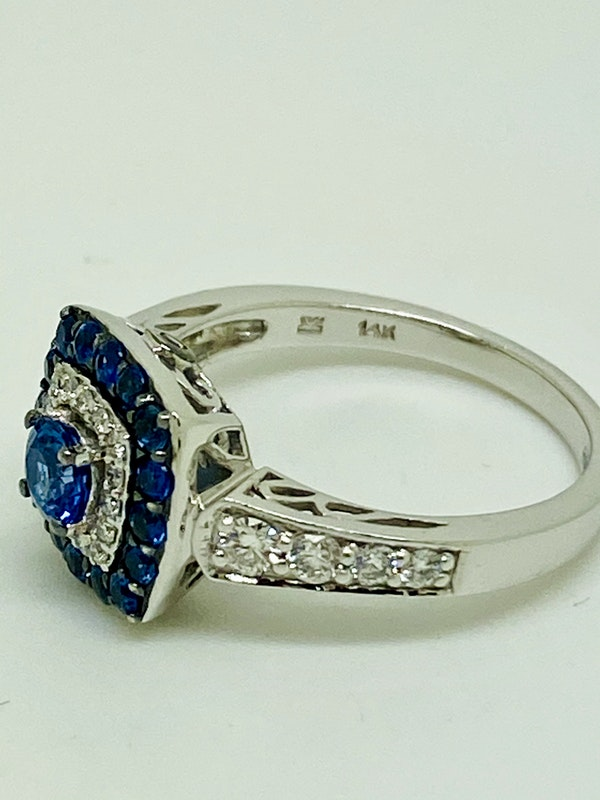 14K white gold 0.50ct Natural Blue Sapphire and 0.75ct Diamond Ring - image 3